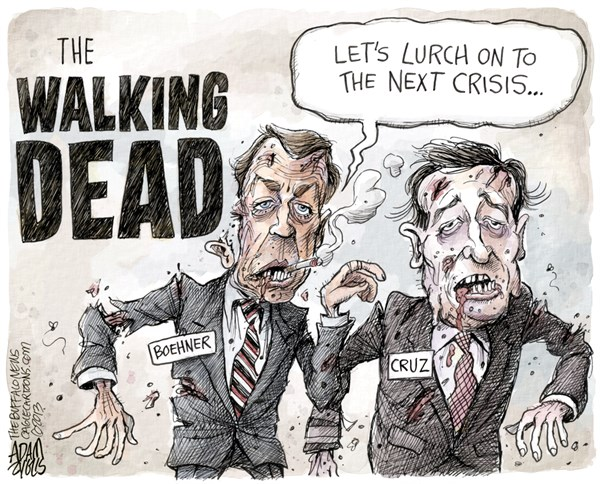 Halloween 2013 political cartoon Ted Cruz Boehner Tea Party
