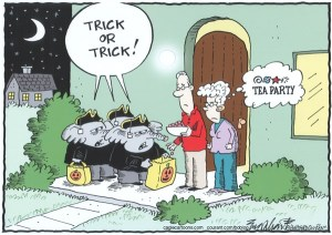 Halloween trick or treat republican political cartoon tea party