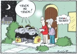 Halloween trick or treat republican political cartoon tea party