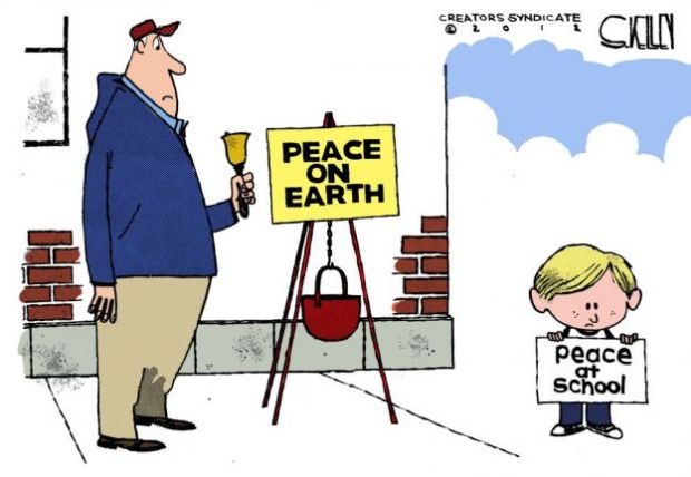 humor school violence newton peace on earth