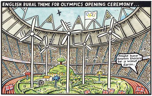 2012 London Olympics, cartoon funny humor humour joke, opening ceremonies comic, wind farm, English Humor