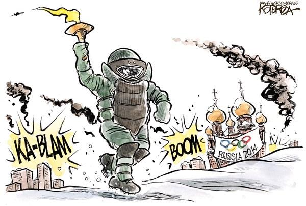 "Jeff Koterba cartoon for December 31, 2013 ""Russia Olympics"""