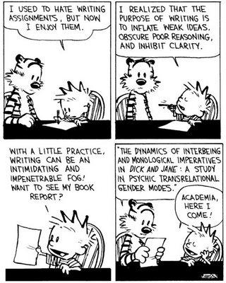 Calvin and Hobbes, academia, writing