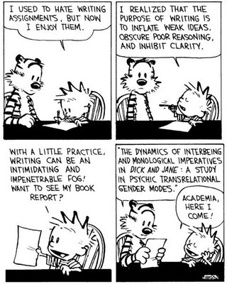 Calvin and Hobbes, academia, writing