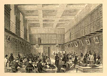 """Reading Room, British Museum,"" artist, Henry Walker Herrick, wood engraving by Messrs. Richardson & Cox. Page 114 from Washington Irving, The Sketch Book of Geoffrey Crayon, Gent., ""Artist's Edition"" (New York, 1864). Courtesy of the American Antiquarian Society, Worcester, Massachusetts.From: http://www.common-place.org/vol-09/no-03/cahill/"