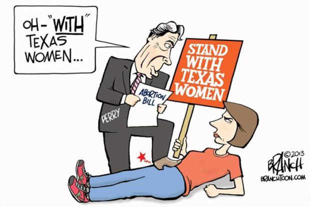 Rick Perry Wendy Davis abortion cartoon stand with texas women