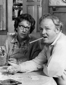 Edith (Jean Stapleton) and Archie Bunker (Carroll O'Connor)