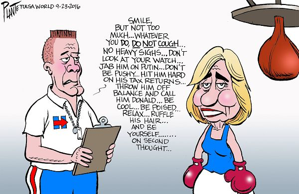 trump clinton debate cartoon 2016